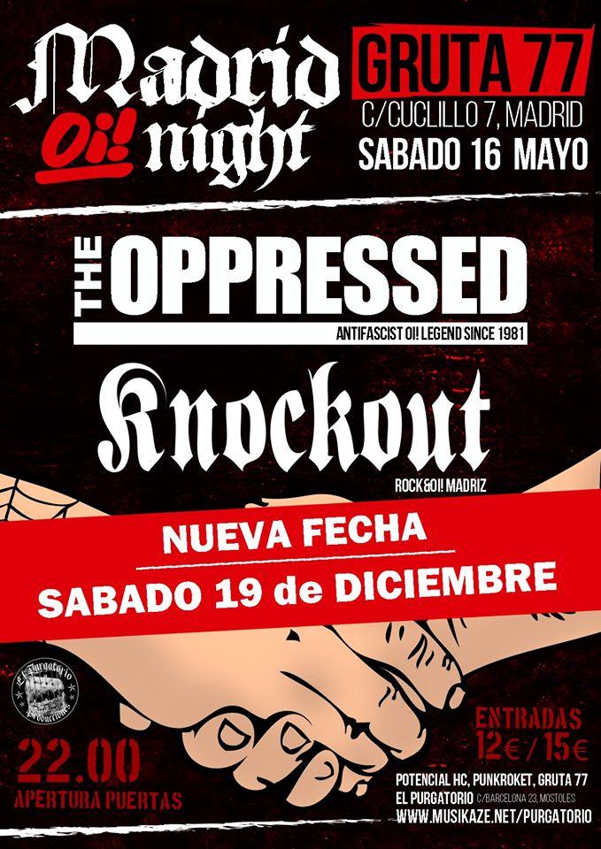 Cartel del concierto de The Oppressed y KnockOut en Gruta 77 (Madrid) el sábado 19 de diciembre de 2020