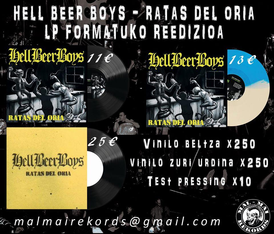 Reedición en vinilo de 'Ratas Del Oria' de Hell Beer Boys realizada por Malmai Records (2020)