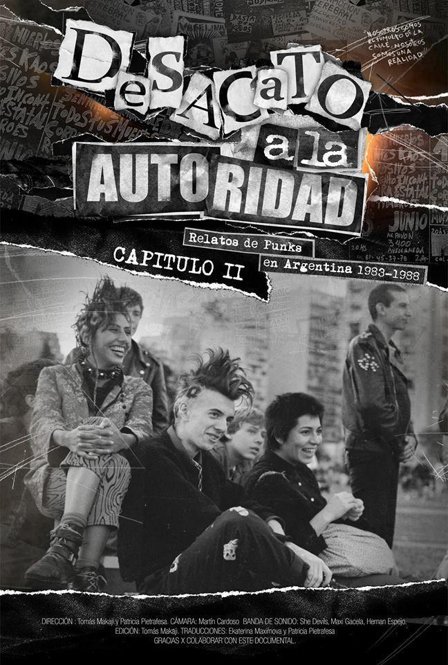 Cartel del documental: 'Desacato a la autoridad. Relatos de punks en Argentina 1983-1988' (2014)