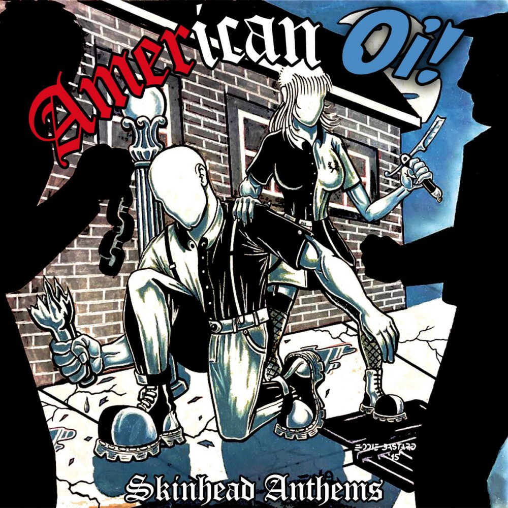 Portada de 'American Oi! - Skinhead Anthems', LP compartido por Patriot, Hardsell, Doug & The Slougz y Mob Mentality que será editado conjuntamente por los sellos Laketown Records, Liberty Or Death Records, Sunny Bastards Records, Clockwork Punk Records y Comandante Records