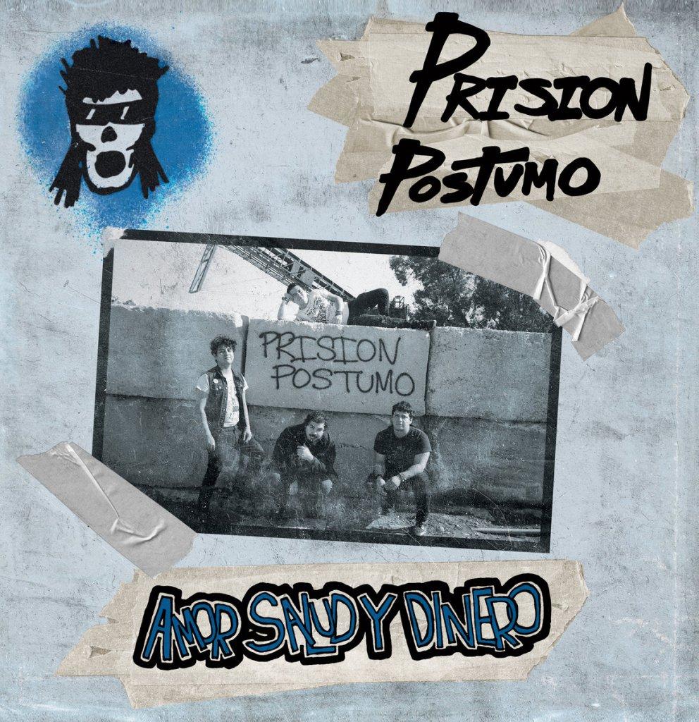 Portada del disco 'Amor, salud y dinero' editado en 2021 por Prisión Póstumo, banda punk procedente de Santa Ana (California)