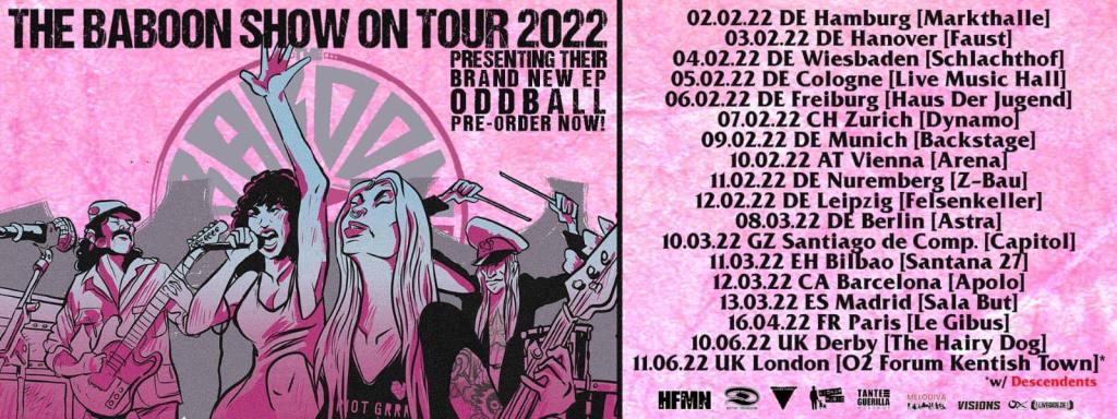 Fechas de la gira de The Baboon Show en 2022